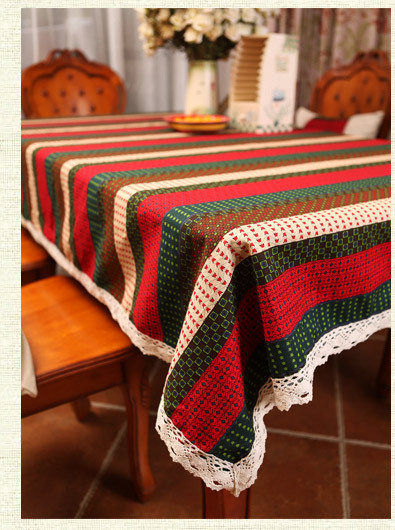 Pure linen strip tablecloth home decorational table cover for Deco table multicolore