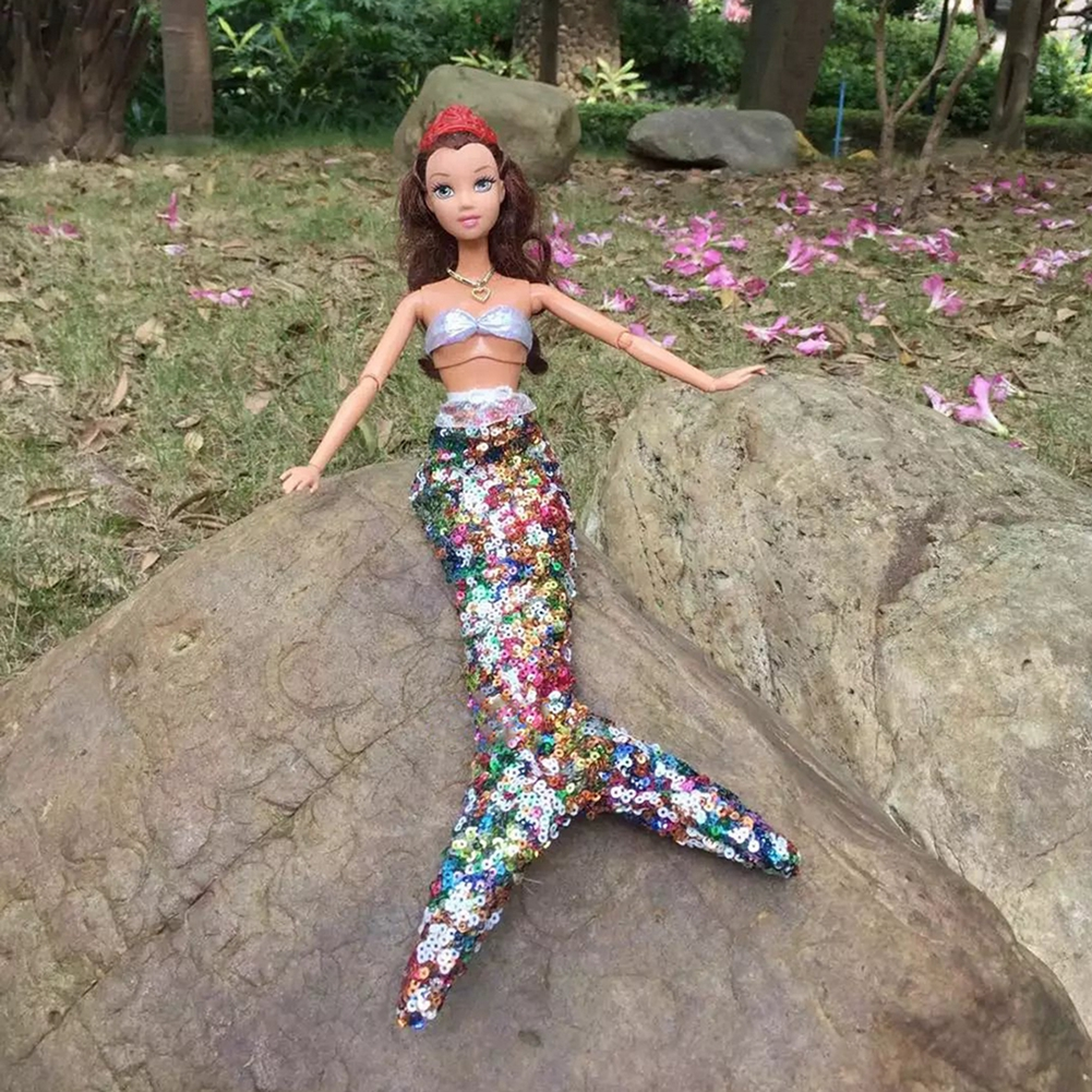 Handmade Dolls Celebration Costume Robe Sequins Mermaid Clothes for Barbie Doll Real Mermaid Tail Costume Child Toys for Youngsters