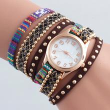 NEW Women PU Large Watch Indian Ethnic Peruvian Golden Bracelet Wristwatch Fashion Reloj Para Dama Watch Quartz Watch