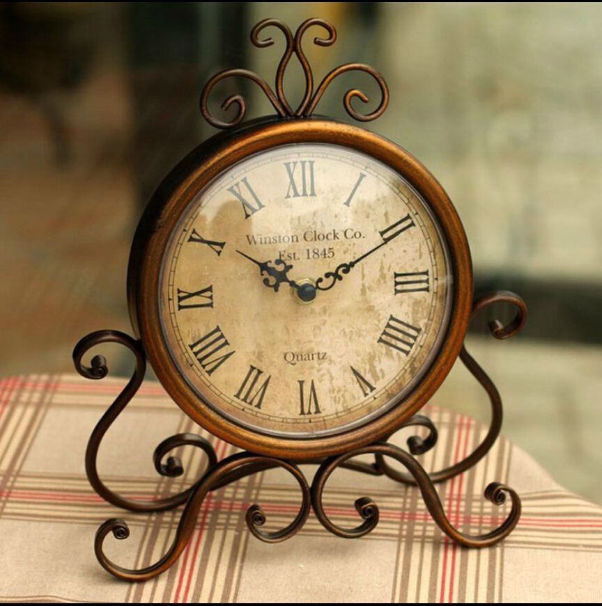 Europe type restoring ancient ways frame wrought iron table clock creative home wall clock bell bedroom Classic adornment(China (Mainland))