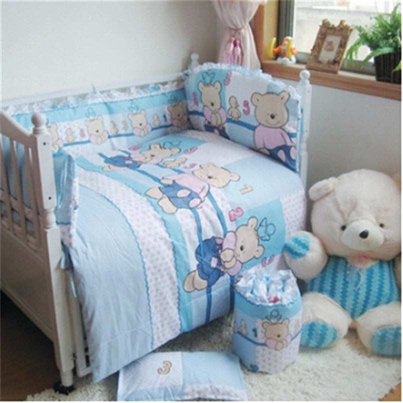 Baby Bedding Set for Crib Newborn Baby Bed Linens for Girl Boy Cartoon Detachable Cot Bumpers Sheet Quilt 100% cotton(China (Mainland))