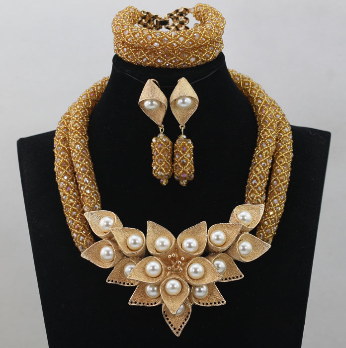 Luxury Champagne Gold Wedding Bib Statement Necklace Set Big Pendant Women Party Jewelry Set 2016 Free Shipping WD234(China (Mainland))