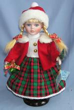 Supply new 30CM cute porcelain dolls equipped with bracket single window gift box Christmas clothes doll(China (Mainland))