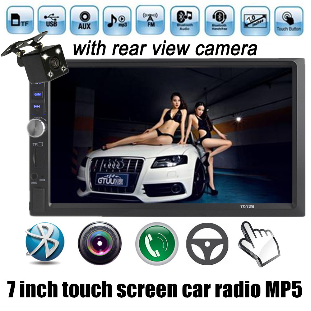wholesale 7 Inch LCD HD Double DIN Car In-Dash Touch Screen Auto radio Bluetooth/ FM/ MP4/MP5 player with rear view camera(China (Mainland))