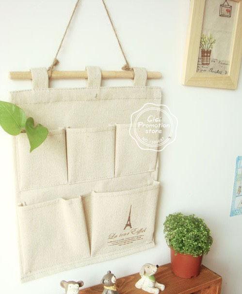 Creative Vintage Storage Bag Household Linen Pouch Pocket Sundries Bag Multifunctional Hanging Eiffel Tower Storage Bag BK10296(China (Mainland))