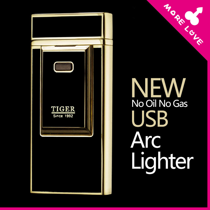 Tiger Lighters Usb lighter pulse charge Windproof Smoking usb arc charging metal electronic cigarette lighter for