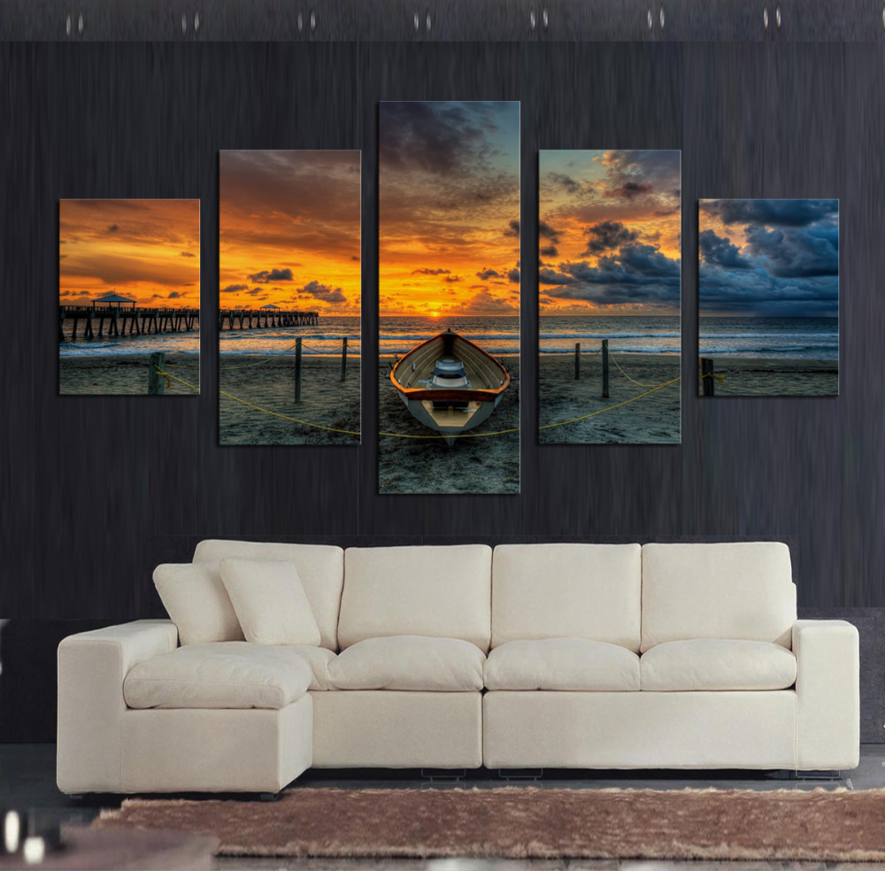 5 Pcs Large Hd Seaview With Shiptop Rated Canvas Print - canvas for wall designs living rooms