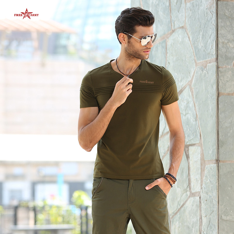 2016 New Design Men t-shirt Fashion Army Green Casual Sport Fitness Slim Cotton Military Style Short t-shirt MS-6263A Z55(China (Mainland))