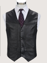 Buy Black Genuine Leather Vest 2016 New Middle-aged Male Sheepskin Multi-pockets Single Breasted Photography Vests Biker Jacket Ma for $47.45 in AliExpress store