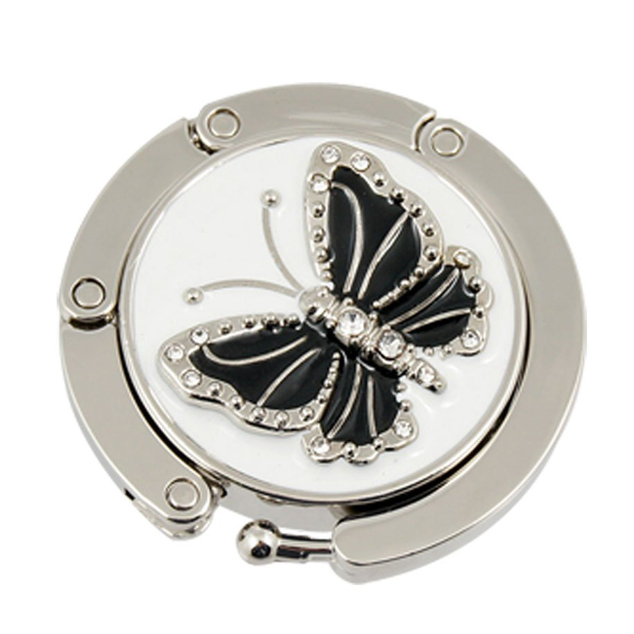 Bag Hanger Butterfly Round Silver Top Quality 2017 Women Bag Holder Crystal Alloy Folding Hook Holder Table Metal Foldable Hock(China (Mainland))