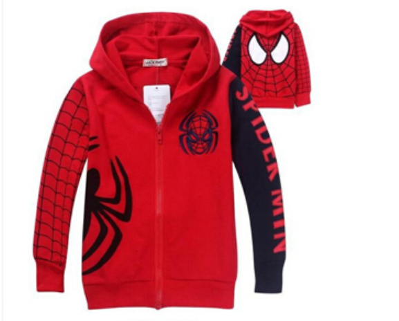 SY024 Free Shipping Retail Children's Coat Boys Spiderman Embroidered Hoodie Jackets Kids Cartoon Clothes Baby Boys Outerwear(China (Mainland))
