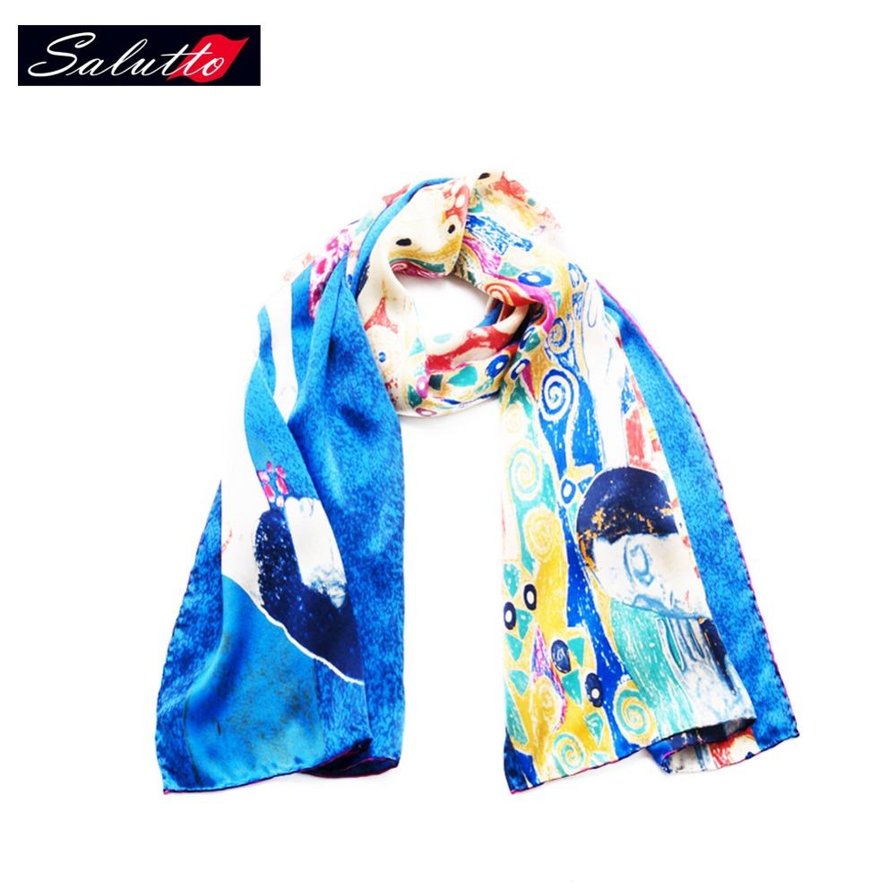SALUTTO The New Brand 100% Silk Scarf Van Gogh Summer Beach Bandana For Women Luxury Echarpes Foulards Femme Sjaals Dames Zomer(China (Mainland))