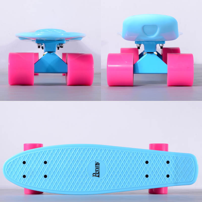 22 Penny Blue Pastels Skateboard with Blue Alu Alloy Trucks and Candy Pink Wheels as Birthday Gift for Girls(China (Mainland))