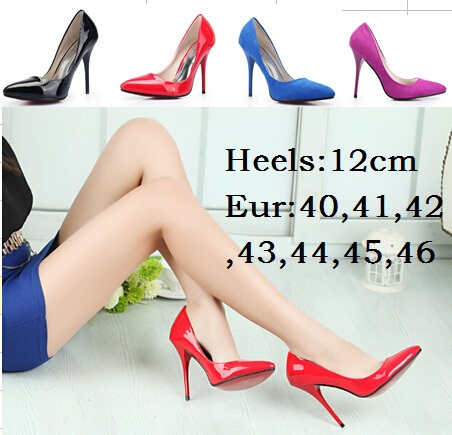 Eur:40-44 45 46 Hot selling Spring/Autumn CD brand red bottom 12cm thin heels sexy wedding shoes Patent Leather women's pumps - Big size Sexy store