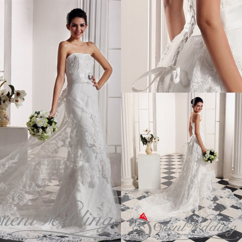 Buy real picture beaded new strapless for Plus size beaded wedding dresses