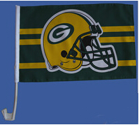 30x45CM Green Bay Packers window Car flag banner polyester Car decoration with flagpole Free Shipping(China (Mainland))