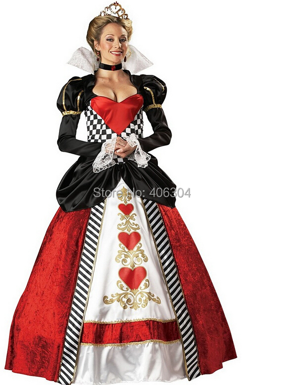 ,Adult women queen hearts dress Alice Wonderland halloween party costume - HH Party Costume Store store