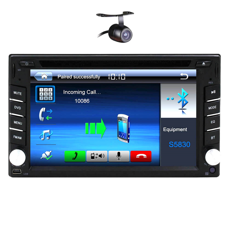 Free Camera+ Universal 6.2'' In dash 2din Car Radio Bluetooth Car DVD CD Video Player double 2 din Car Audio Stereo USB+SD+RDS(China (Mainland))