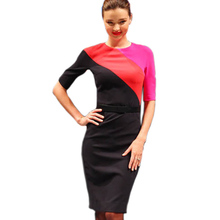 New Fashion Women Contrast Colorblock Dress Business Women Bodycon Fitted Clubwear Casual Dresses 449(China (Mainland))