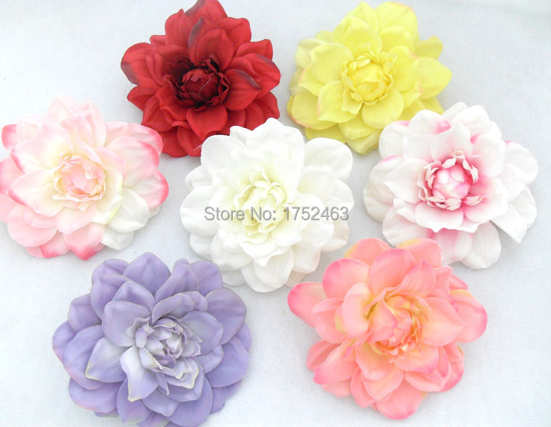 5 PIECES Artificial Dahlia Silk Flower Heads for Wedding Headband Corsage Brooch wedding decoration B72(China (Mainland))