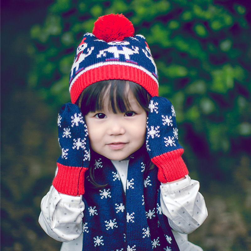 Winter beautiful snow warm baby mittens jacquard woolen crochet hat girls baby scarf winter kids hats scarves gloves three-piece(China (Mainland))