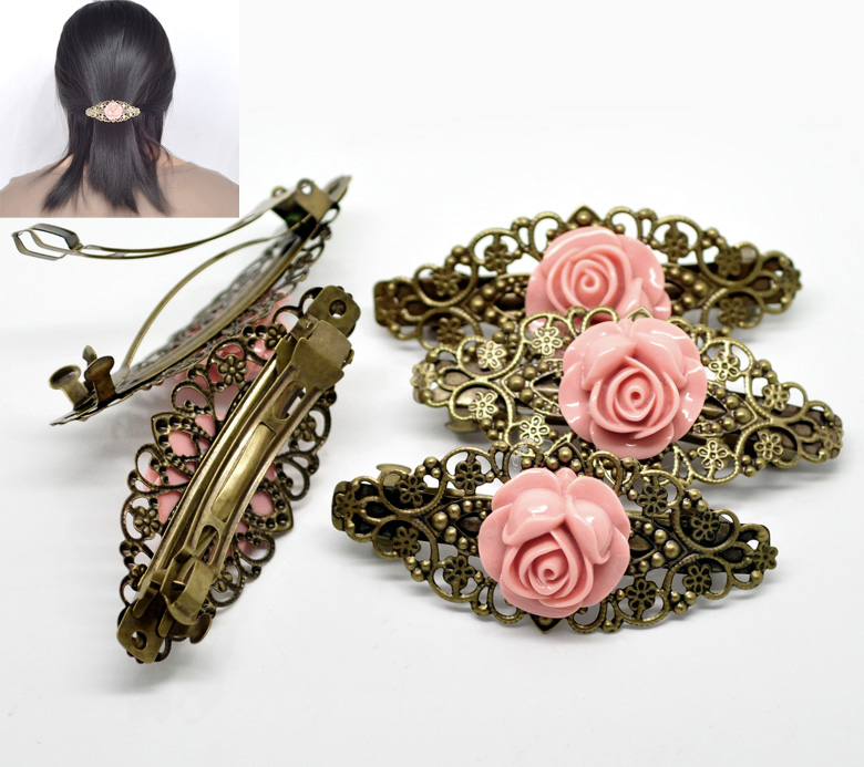 "2PCs Antique Bronze Pink Flower French Hair Barrette Clips 7.9x3.5cm(3-1/8""x1-3/8"") (C00320), yiwu(China (Mainland))"