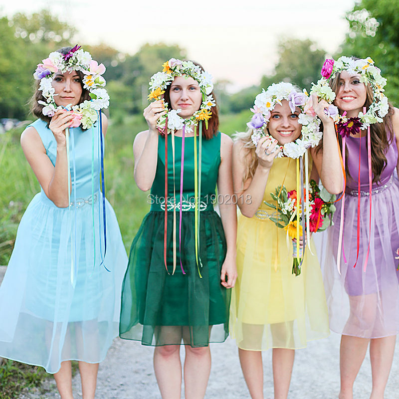 Cheap bridesmaid dress 2016 custom made multi colored two for Multi colored wedding dresses