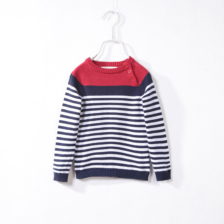 The explosion of foreign children spring 2016 stripe shoulder button children sweater baby sweater(China (Mainland))