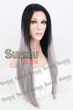 20″ / 28″ Long Straight Gray With Black Customizable Synthetic Lace Front Wig Heat Resistant 10044