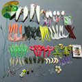 101 Pcs Set Fishing Tackle Set with Soft Worm Lures Metal Spinner Spoon Lures Night Fishing