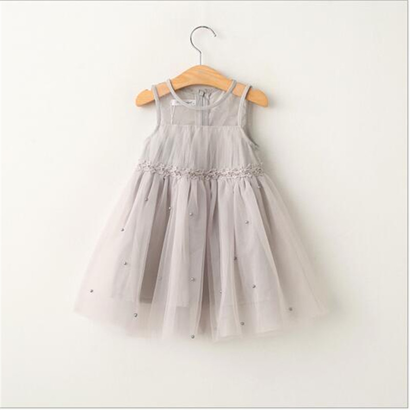 2016 Baby Girls Tulle Lace Dresses Girl Princess Pearl Dress Kids Girl Summer tutu Dress Babies Wholesale Clothing Kids Clothes<br><br>Aliexpress