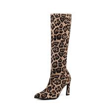 QUTAA 2020 High Heels Frauen Stiefel Mitte Wade Schuhe Sexy Spitz Winter Herbst Stretch Wildleder Slip auf Frau Stiefel größe 34-43(China)