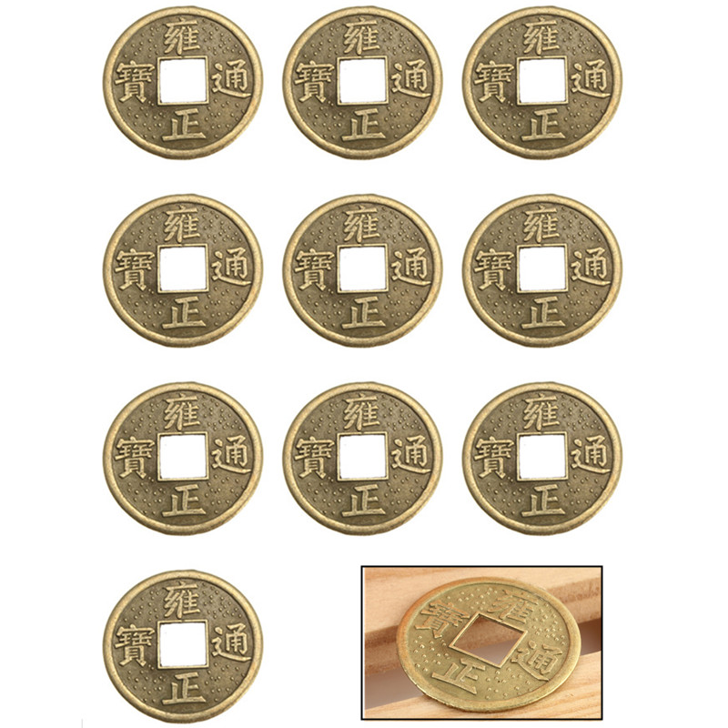 NEW Special Offer 10Pcs 24mm Chinese Lucky Feng Shui Coin Good Fortune Smooth New Dragon Wealth Money For Collection Gift(China (Mainland))