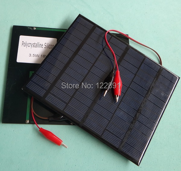 New 3.5W 18V Mini Solar Cell Polycrystalline Solar Panel+Crocodile Clip Diy Solar System For 12V Battery Charger FreeShipping(China (Mainland))