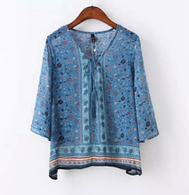Retro Bohemian Floral Print Streamer Strappy O neck Pullover Shirt 2015 New Women Summer Ethnic thin Chiffon Shirt Blouse Tops(China (Mainland))