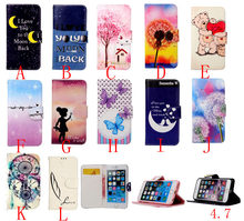 Luxury Painting Leather Case for iPhone6 Mobile Phone Bag Stand Wallet Cases Back Cover