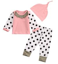 Розовый Новорожденный Мальчик Девочка Костюмы Топы Dot Брюки Брюки Шляпа Одежда 3 ШТ. Набор(China (Mainland))