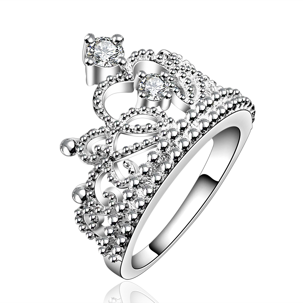 Promotion! New Arrival Fashion Jewelry AAA Top Grade Cubic Zirconia Diamond 925 Silver Crown Ring For Women/Girl Party Gift(China (Mainland))