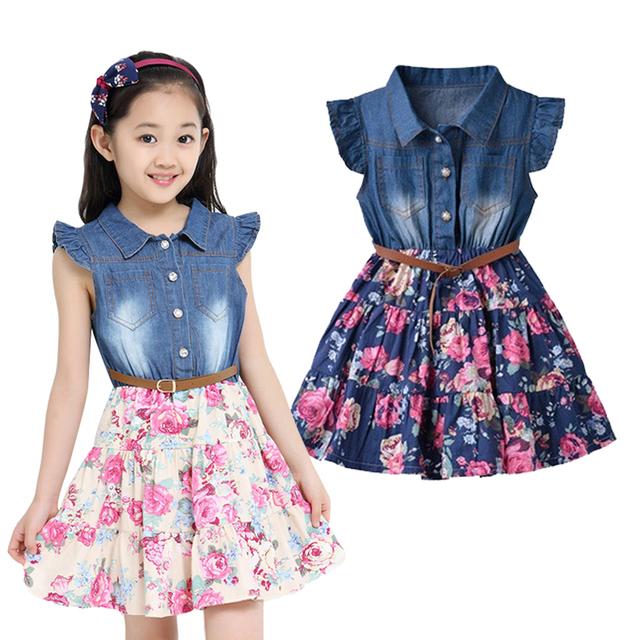 Verano vestidos para niñas niños del algodón Denim bebé ropa ropa Floral cabritos de la manga