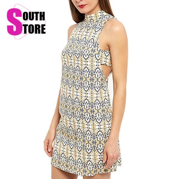 Southstore 2016 New Summer Sleeveless Tropical Print Casual Dresses Women Hollow Sexy Beach Tank Dress Vestidos Plus Size - South Store Do It Better store