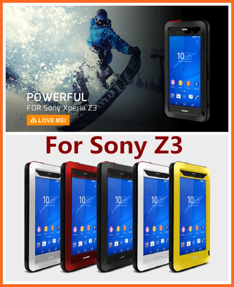 For Sony Xperia Z3 Z 3 Original LOVE MEI Powerful Shockproof Dirtproof Waterproof Metal phone Cover Case MOQ:1PCS(China (Mainland))