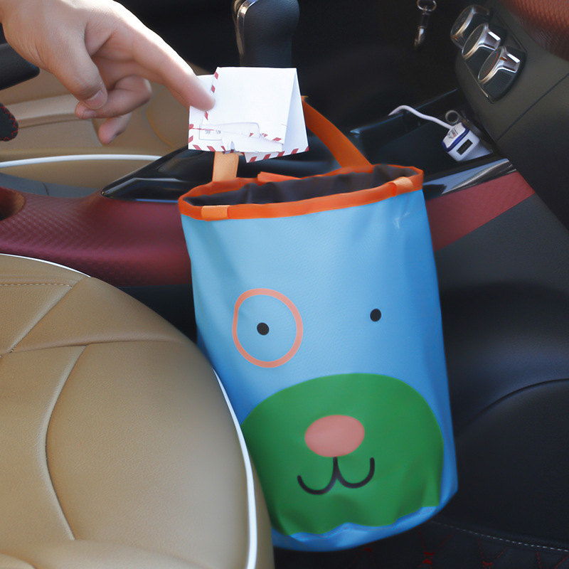 Cute Cartoon Foldable Car Garbage Can Vehicle Dust Rubbish Case Holder Portable Home Outside Hanger Waste Bins Trash Storage Bag(China (Mainland))