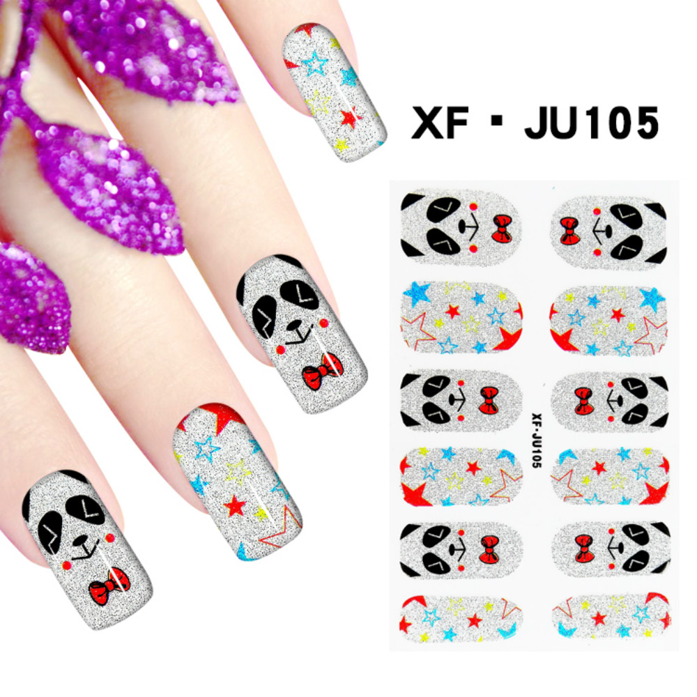 JU105 Free Shipping 3D Full Nail Strips Beautiful Nail Art Stickers With One Nail File Ju105 Buy One Get Two Total 3 Pack(China (Mainland))