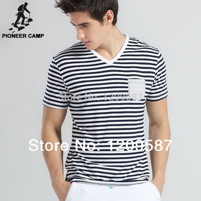 Pioneer camp,Free shipping!2016 men t shirt short sleeve modal cotton striped t-shirt v-neck fashion design navy silm 208147(China (Mainland))