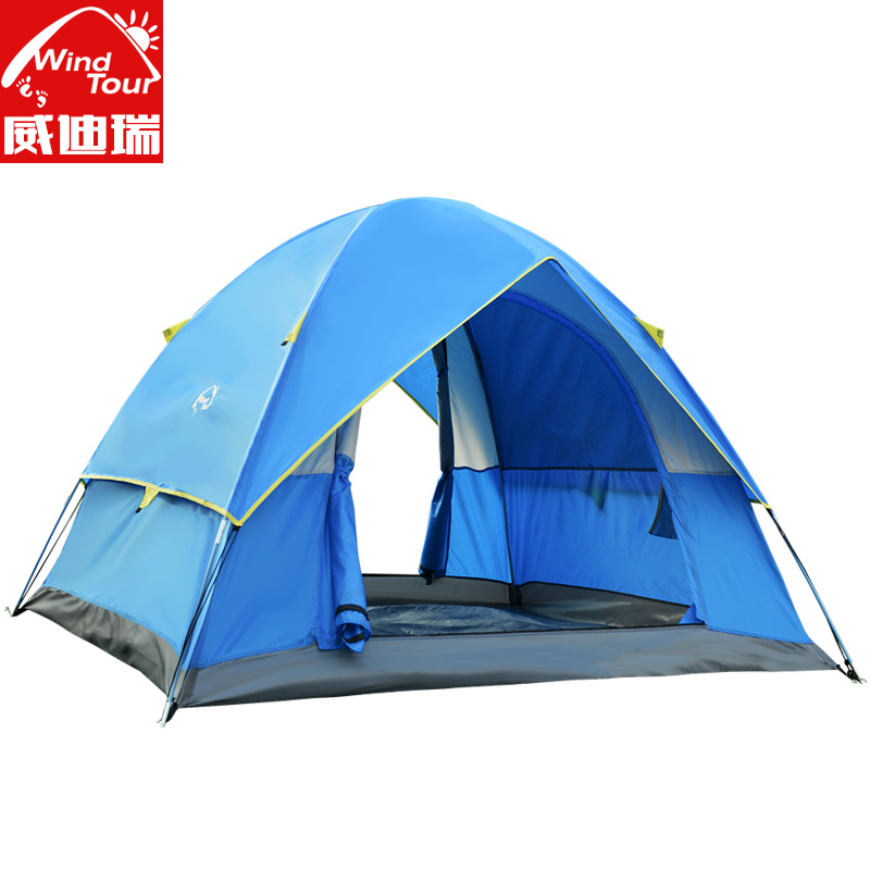 hot sale outdoor tourist tents 3 4 person blue camping