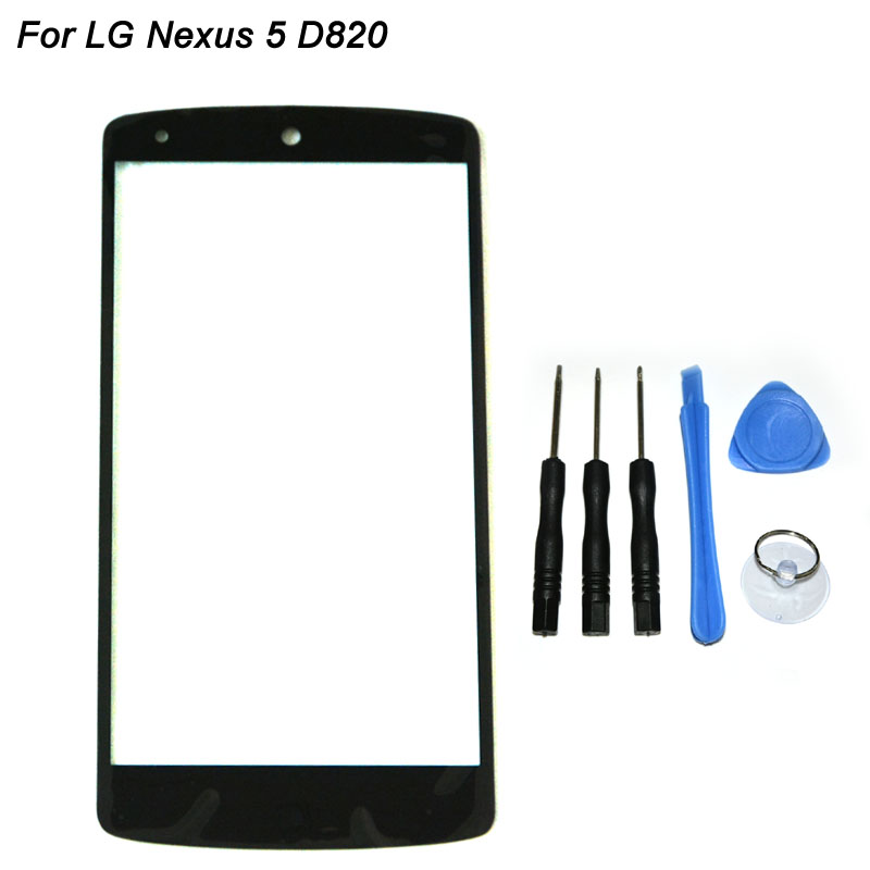 Black Color For LG Google Nexus 5 D820 D821 E980 Front Glass Replacement Mobile Phone Outer Glass Windows Cover + Tools Set(China (Mainland))