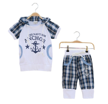 boys clothes casual children clothing sets toddler boys clothing fashion short-sleeved + plaid pants 2 pieces kids sport suits(China (Mainland))