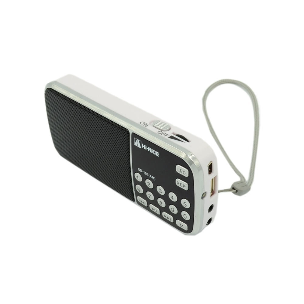 The most popular White Portable LCD Digital FM AM Radio Speaker USB Micro SD TF Slot