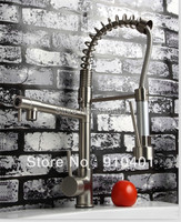 Factory direct sale! Kitchen Faucet With Hot & Cold Switch Function sring mixer luxury tap (brushed nickel)2207BN