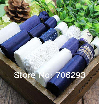 DARK BLUE Navy style19YDS mixed 19style stain/grosgrain /cotton lace ribbon Diy hairbows combination ribbon set(China (Mainland))